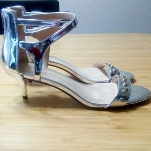 Nine West Silver Heeled Sandals with Zipper